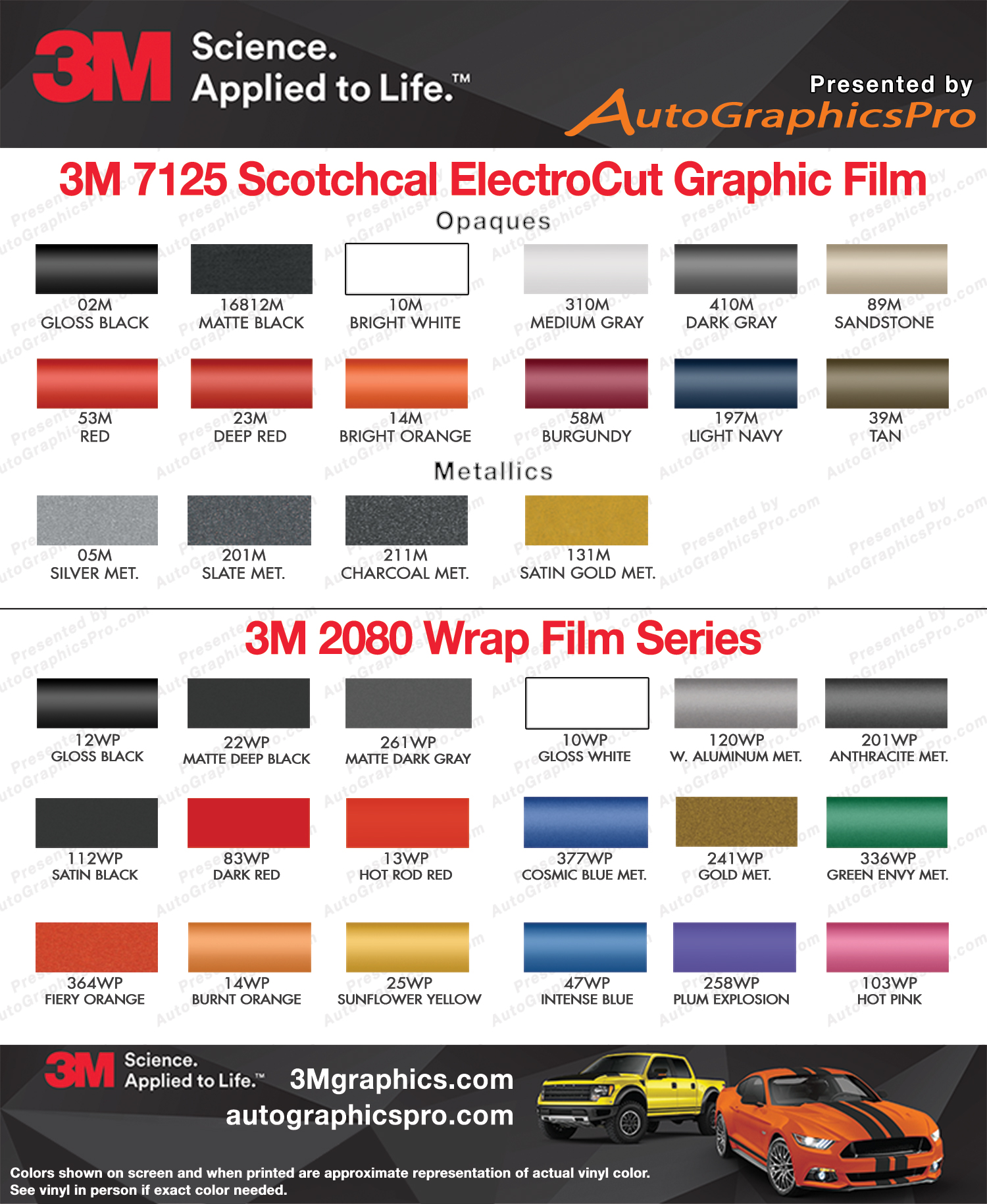 3m Premium Scotchcal 7125 And 1080 Wrap Series Vinyl Color Chart