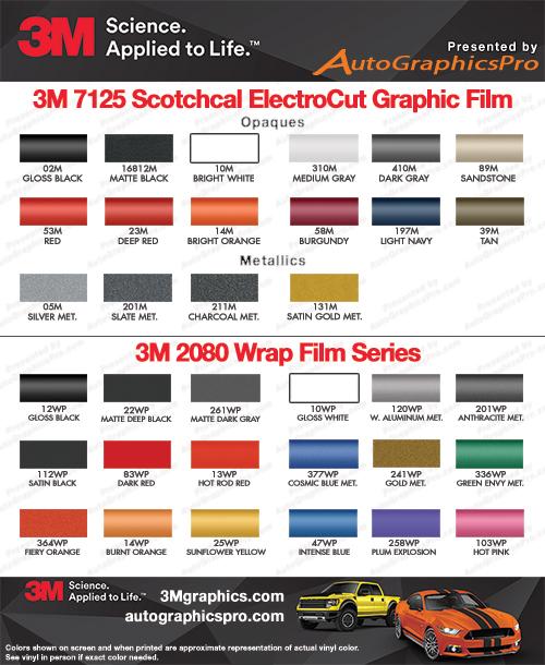 3M Premium Scotchcal 7125 and 3M 1080 Wrap Series Vinyl Color Chart